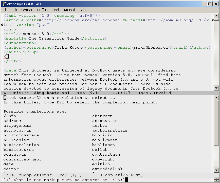 Emacs with nXML mode is providing guided editing and validation
